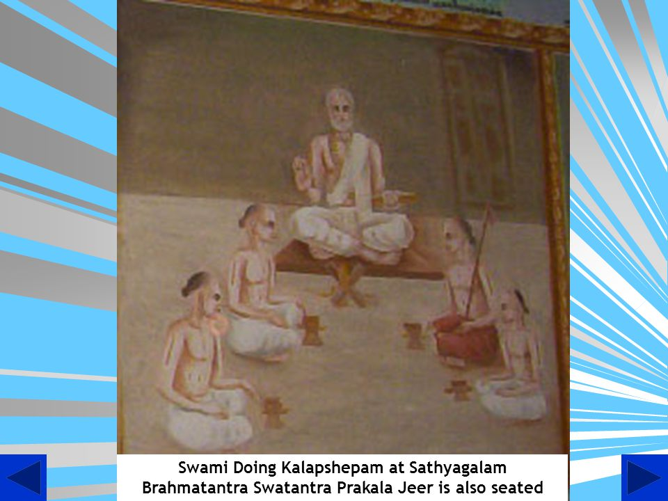 Swami Doing Kalapshepam at Sathyagalam Brahmatantra Swatantra Prakala Jeer is also seated