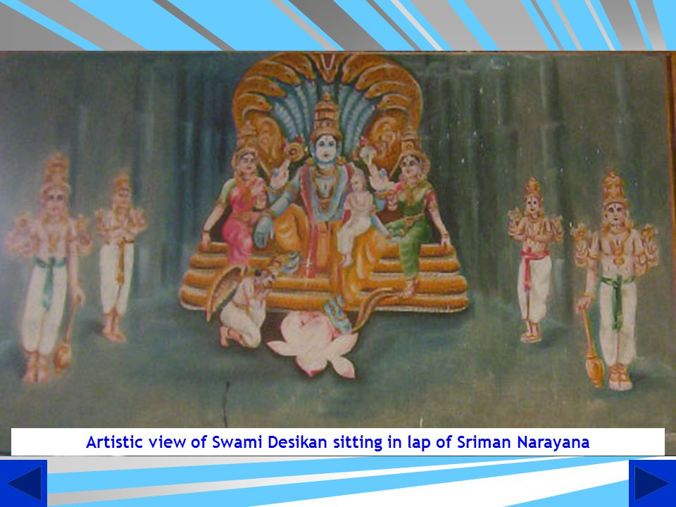 Artistic view of Swami Desikan sitting in lap of Sriman Narayana
