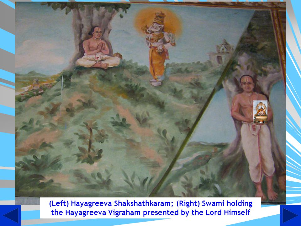 (Left) Hayagreeva Shakshathkaram; (Right) Swami holding the Hayagreeva Vigraham presented by the Lord Himself