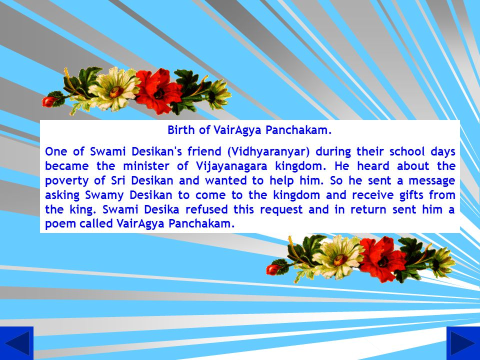 Birth of VairAgya Panchakam.