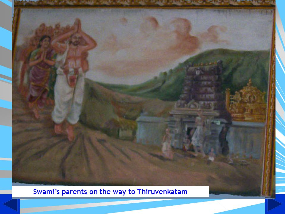 Swami's parents on the way to Thiruvenkatam