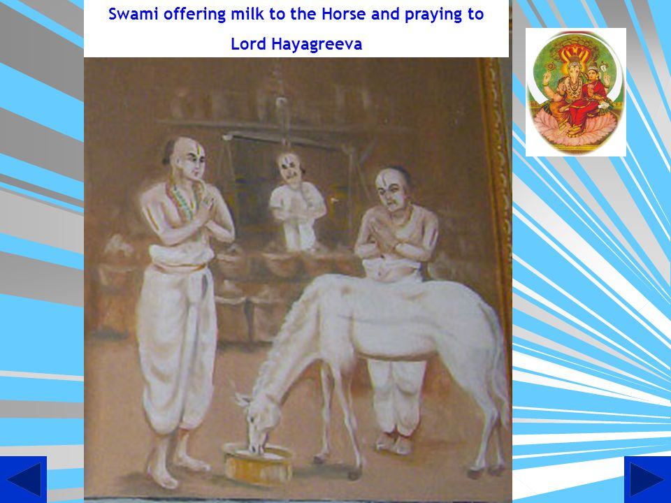 Swami offering milk to the Horse and praying to