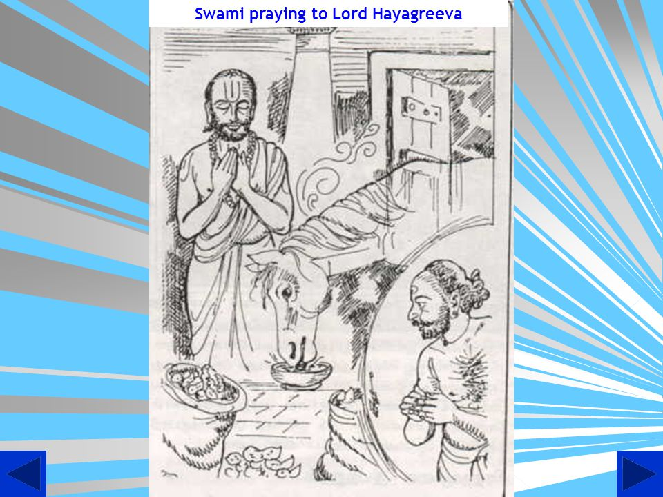 Swami praying to Lord Hayagreeva