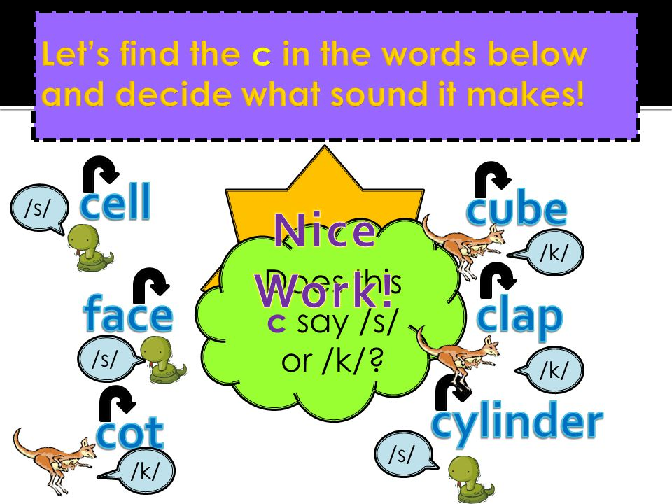 Let's find the c in the words below and decide what sound it makes!