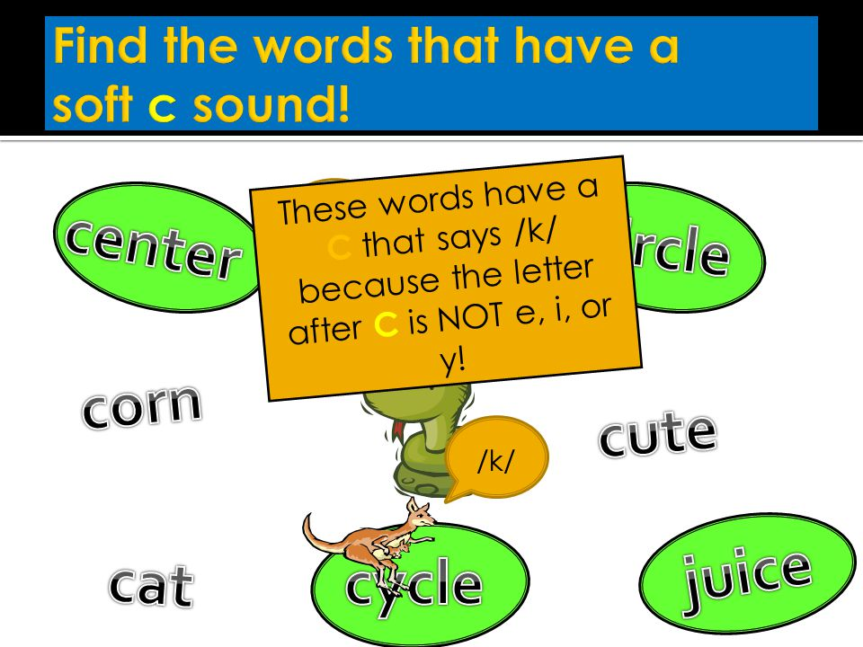 Find the words that have a soft c sound!