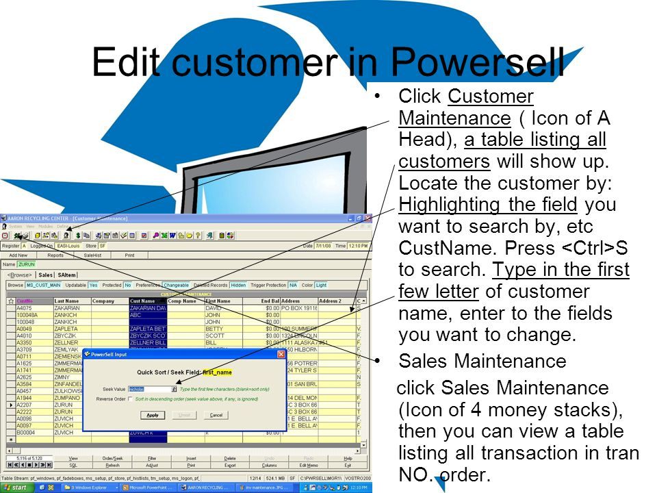 Edit customer in Powersell