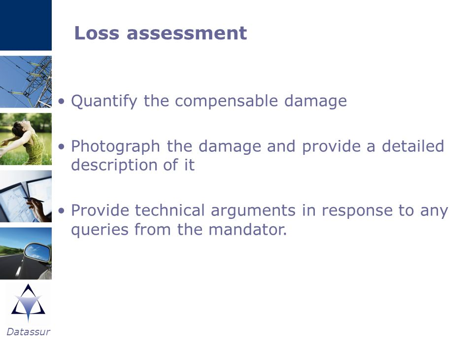 Loss assessment Quantify the compensable damage