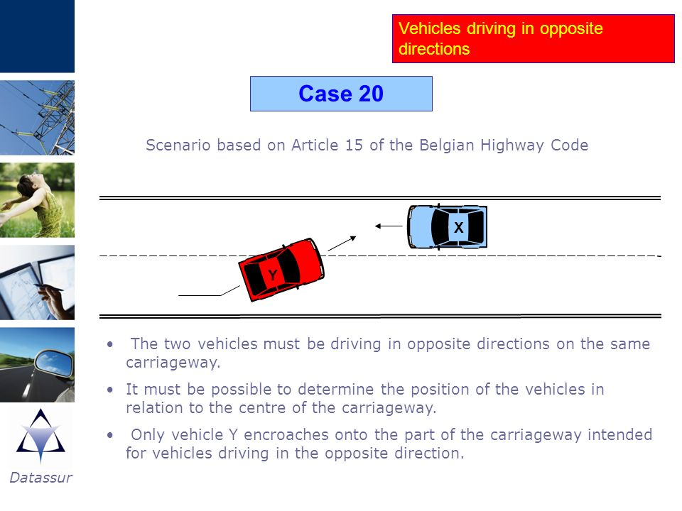 Scenario based on Article 15 of the Belgian Highway Code