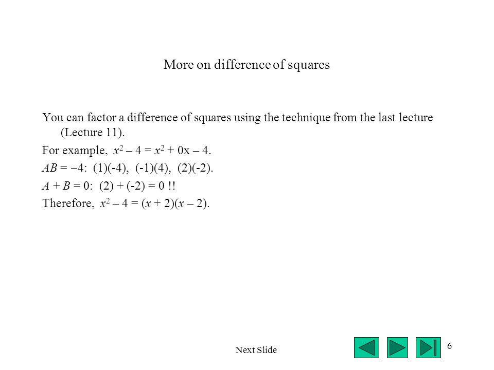 More on difference of squares