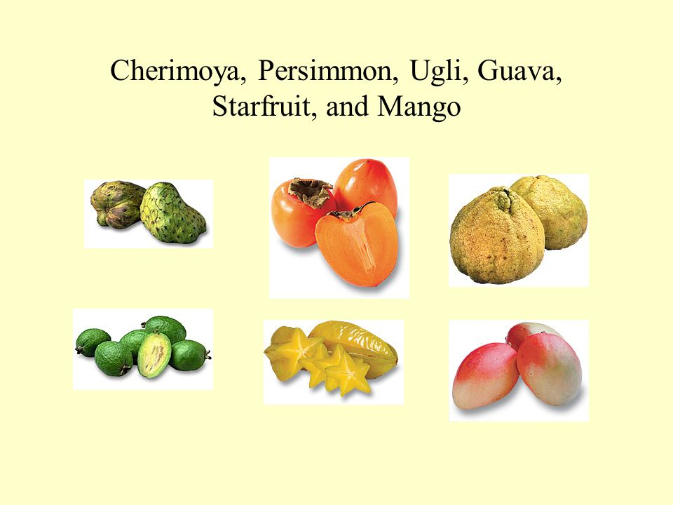 Cherimoya, Persimmon, Ugli, Guava, Starfruit, and Mango