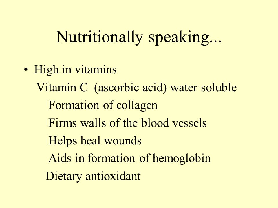 Nutritionally speaking...
