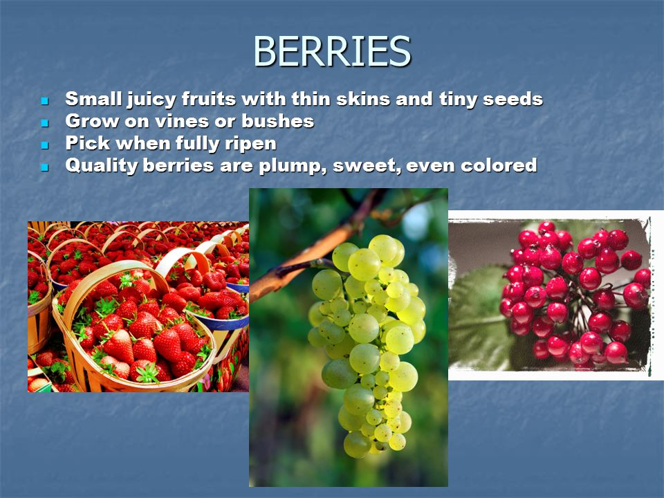 BERRIES Small juicy fruits with thin skins and tiny seeds