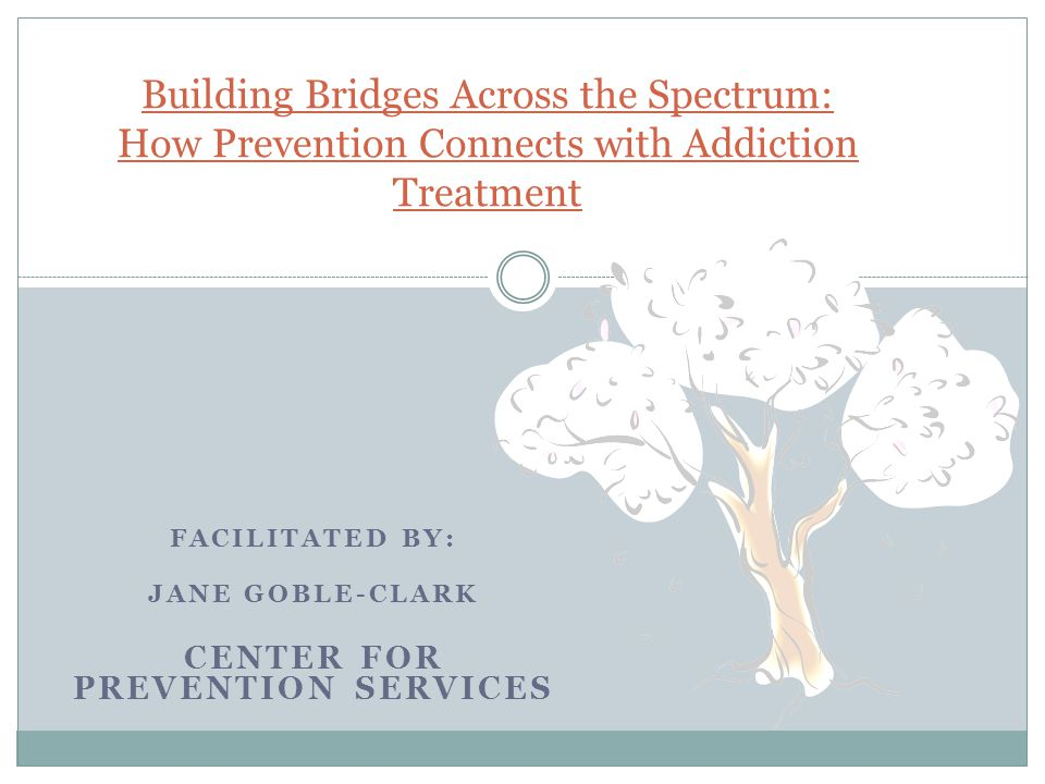 Facilitated by: Jane Goble-Clark Center for Prevention Services