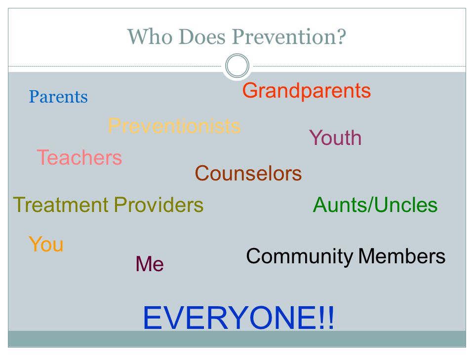 EVERYONE!! Who Does Prevention Grandparents Preventionists Youth