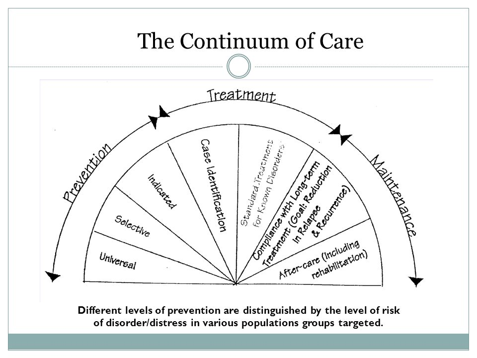 The Continuum of Care Different levels of prevention are distinguished by the level of risk.