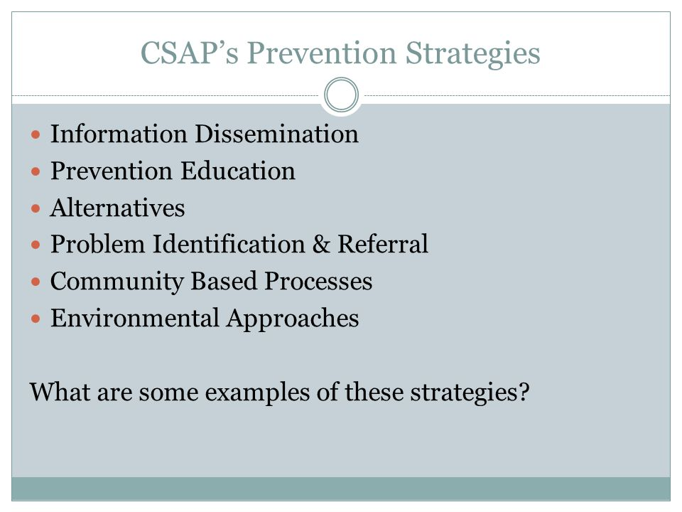 CSAP's Prevention Strategies