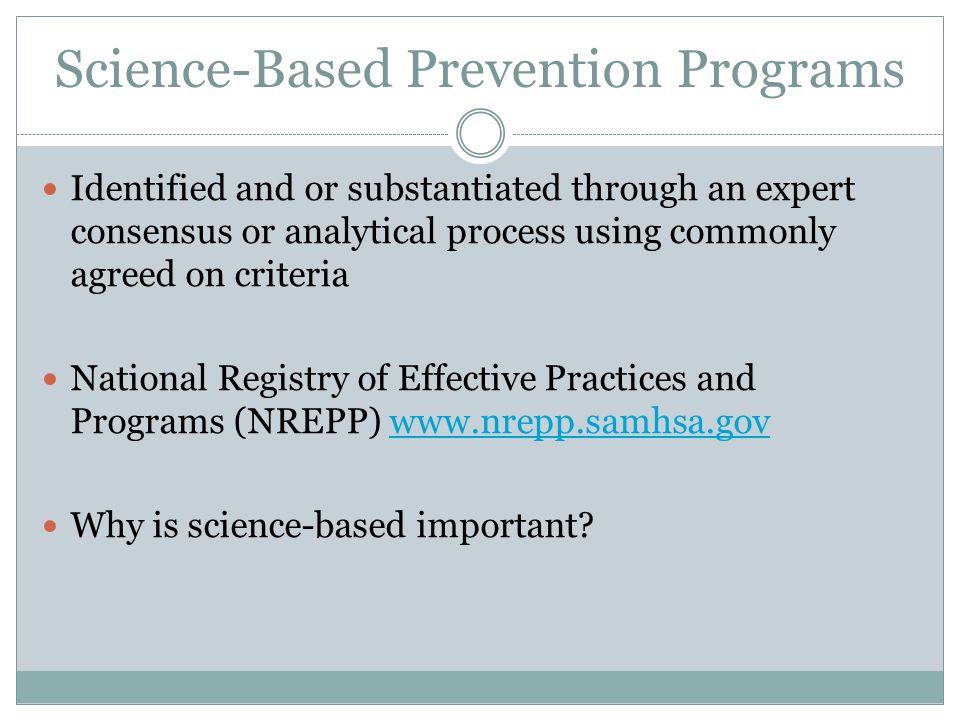 Science-Based Prevention Programs