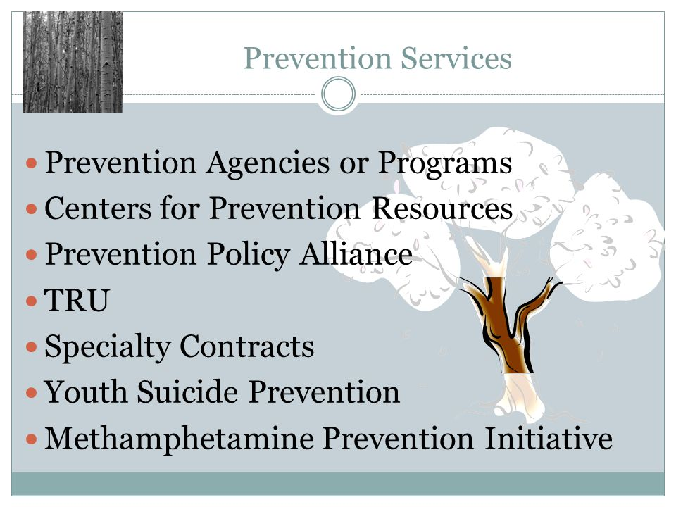 Prevention Agencies or Programs Centers for Prevention Resources