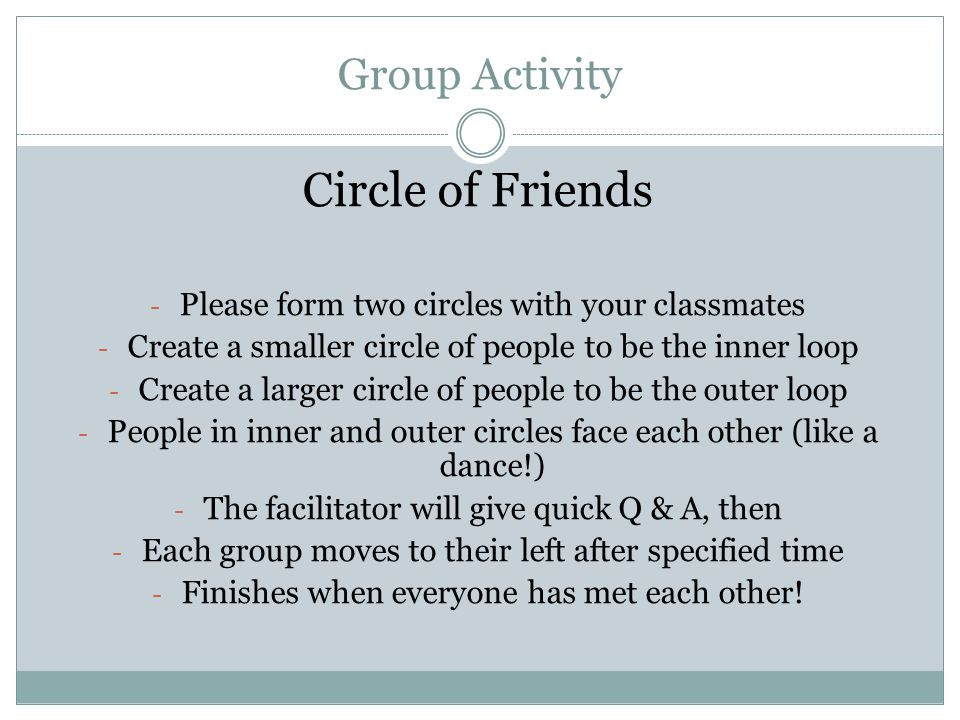 Circle of Friends Group Activity