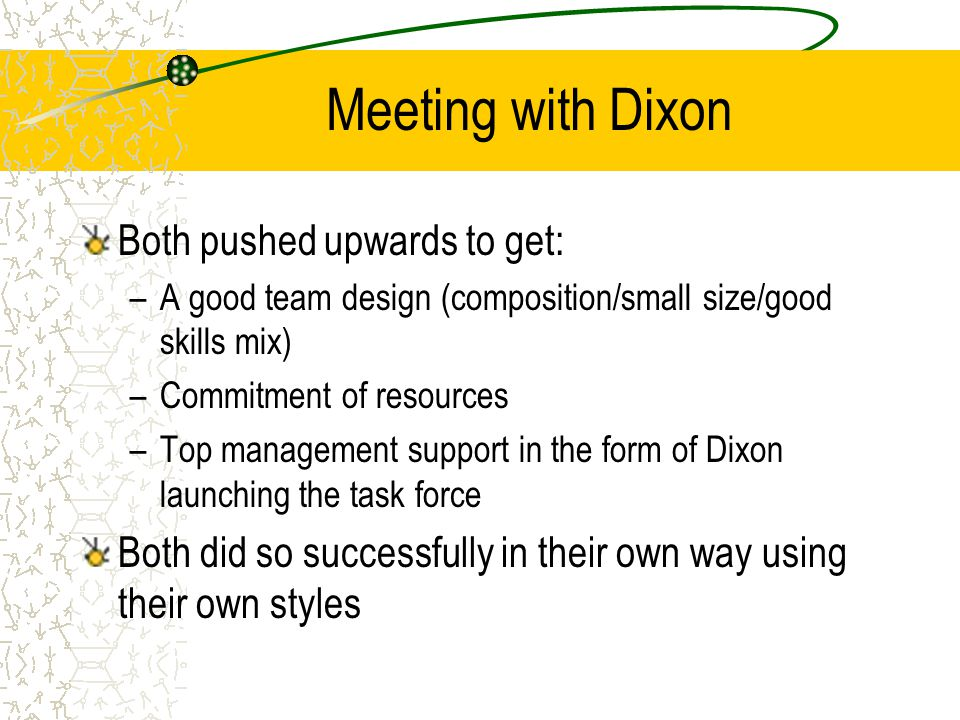 Meeting with Dixon Both pushed upwards to get: