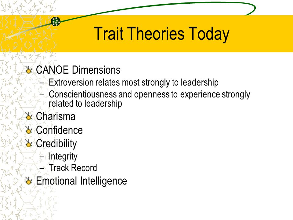 Trait Theories Today CANOE Dimensions Charisma Confidence Credibility