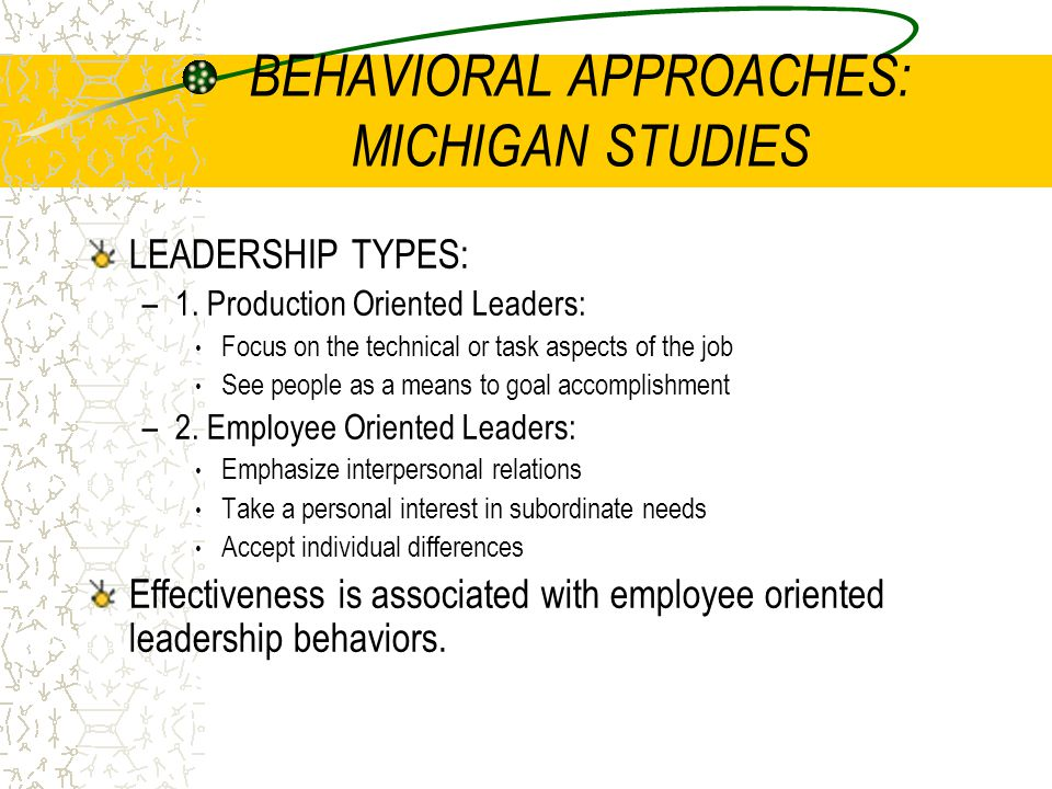 BEHAVIORAL APPROACHES: MICHIGAN STUDIES