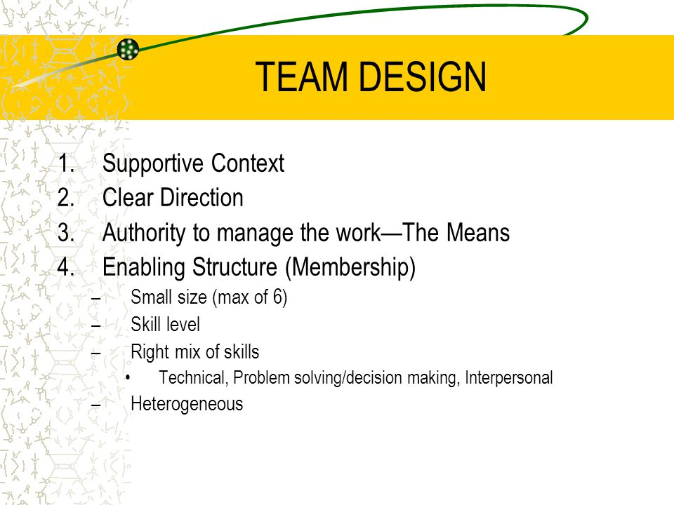 TEAM DESIGN Supportive Context Clear Direction