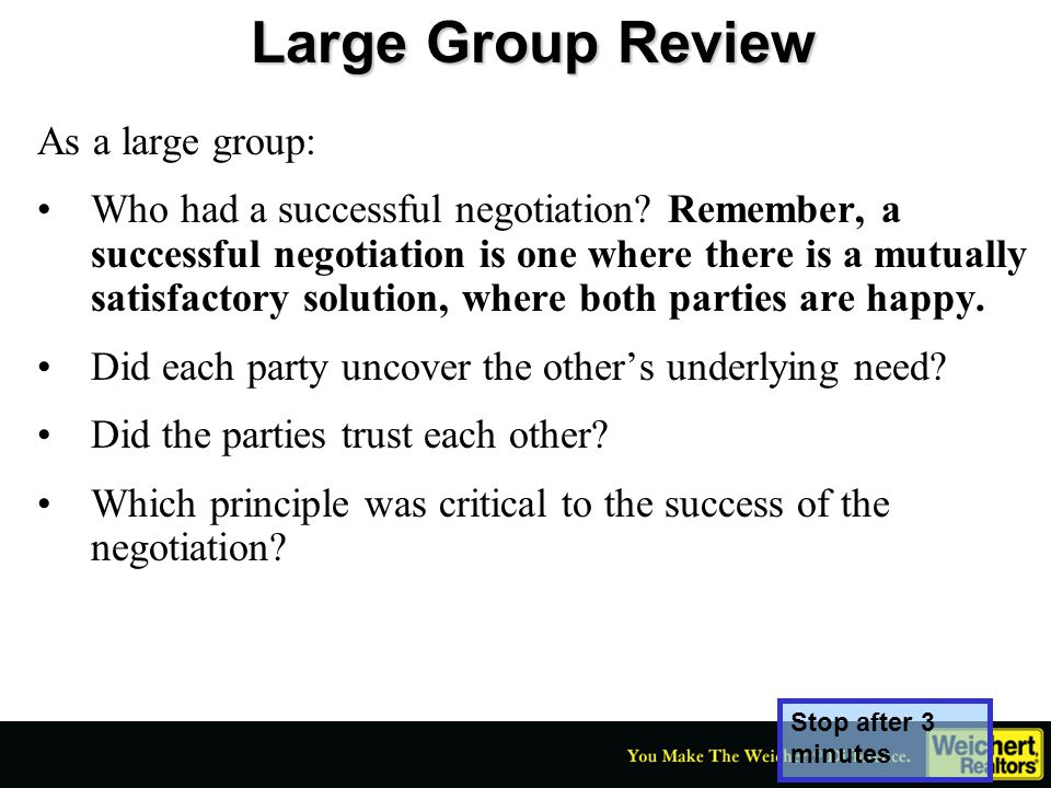 Large Group Review As a large group: