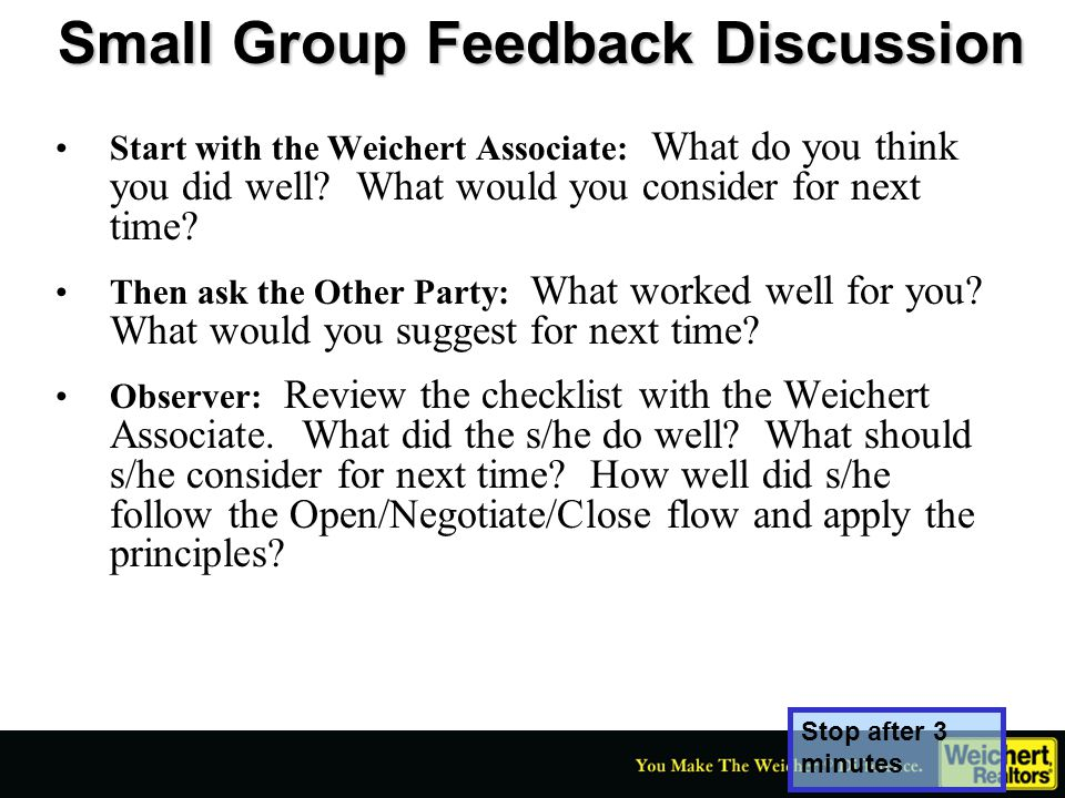 Small Group Feedback Discussion