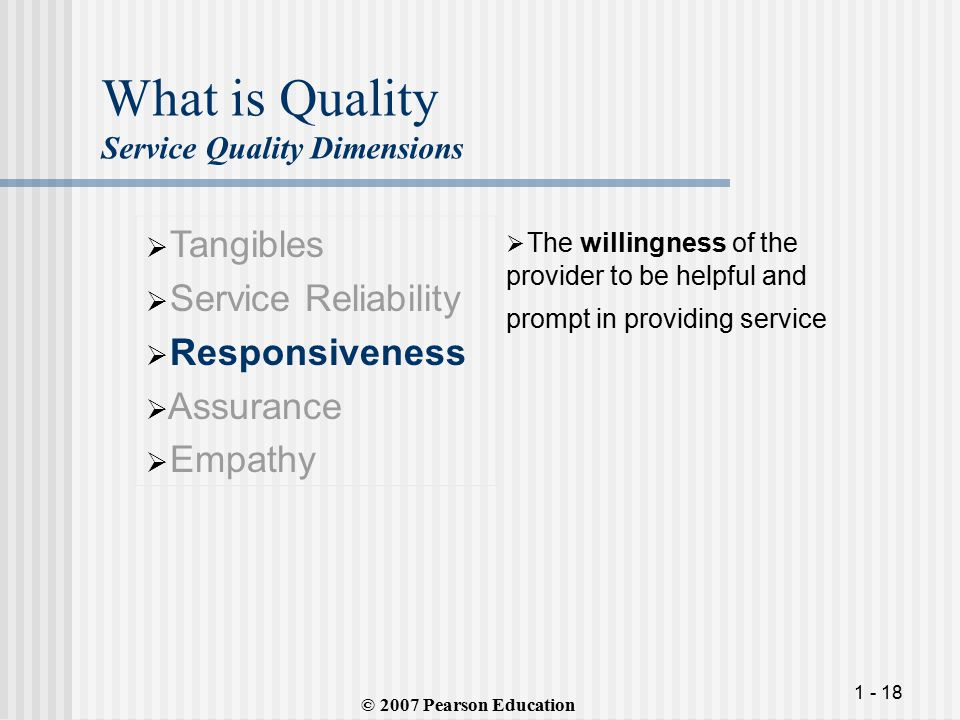 What is Quality Service Quality Dimensions