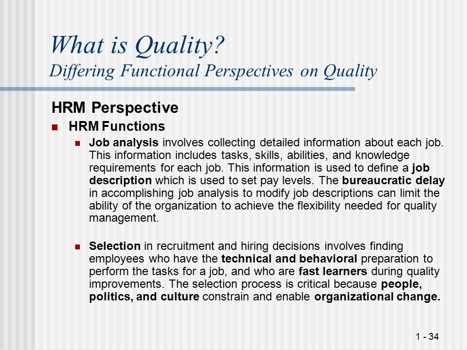 What is Quality Differing Functional Perspectives on Quality