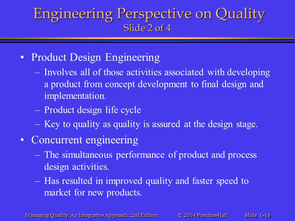 Engineering Perspective on Quality Slide 2 of 4