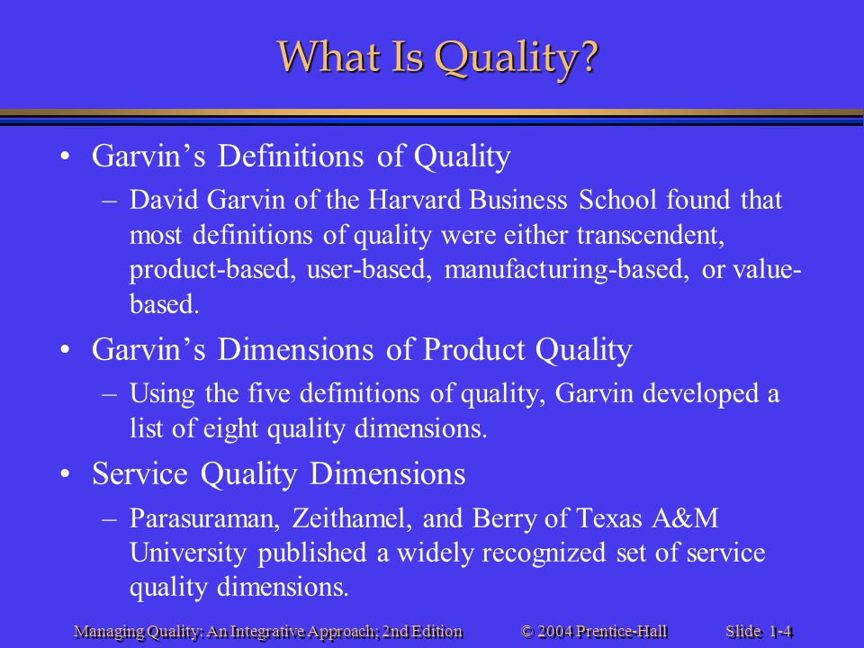 What Is Quality Garvin's Definitions of Quality