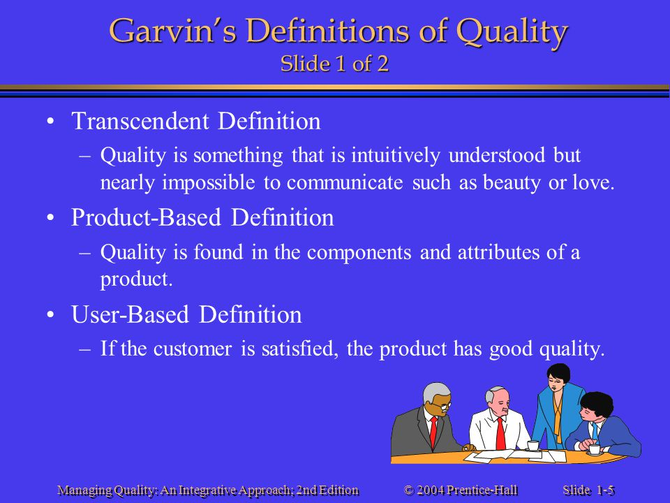 Garvin's Definitions of Quality Slide 1 of 2