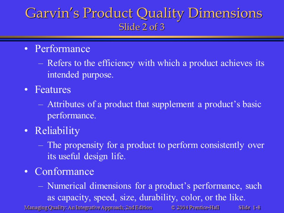 Garvin's Product Quality Dimensions Slide 2 of 3