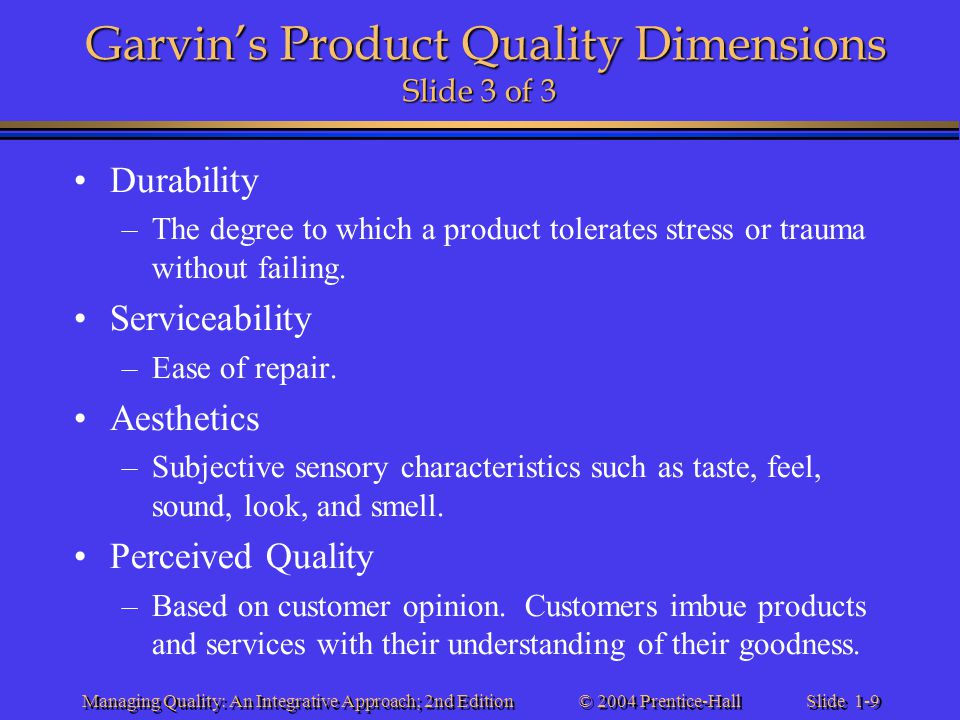 Garvin's Product Quality Dimensions Slide 3 of 3