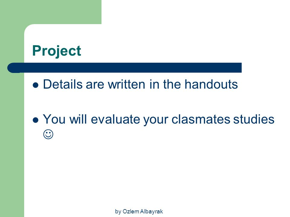 Project Details are written in the handouts