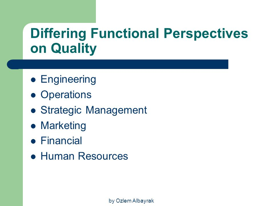 Differing Functional Perspectives on Quality