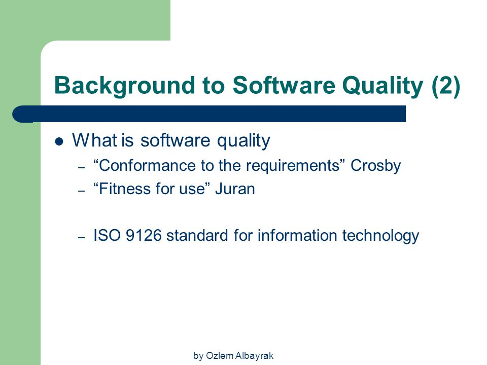 Background to Software Quality (2)