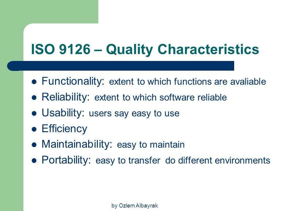ISO 9126 – Quality Characteristics