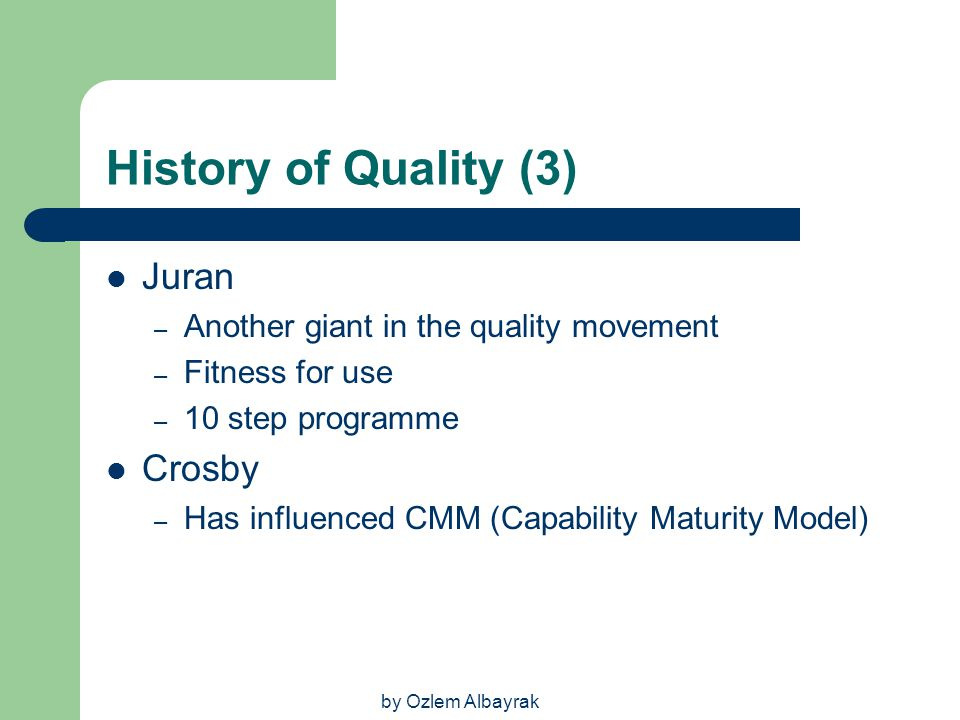 History of Quality (3) Juran Crosby