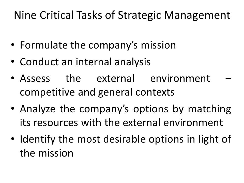 Nine Critical Tasks of Strategic Management