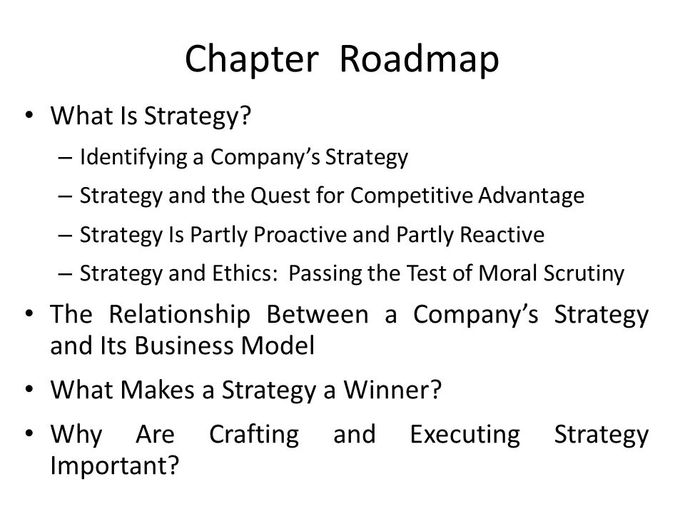 Chapter Roadmap What Is Strategy