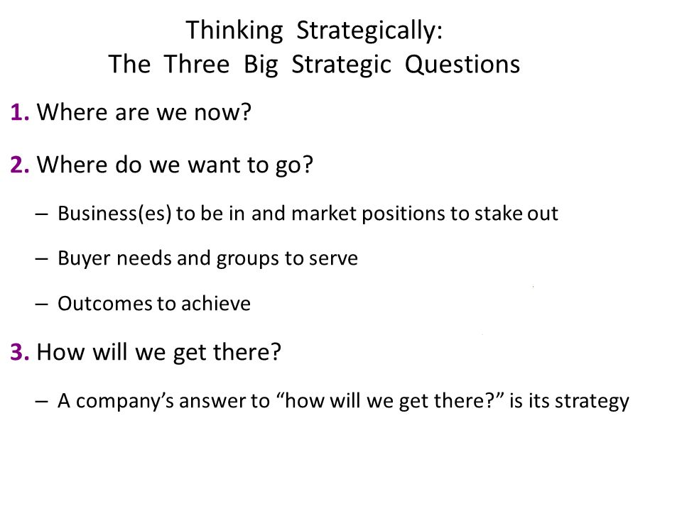 Thinking Strategically: The Three Big Strategic Questions