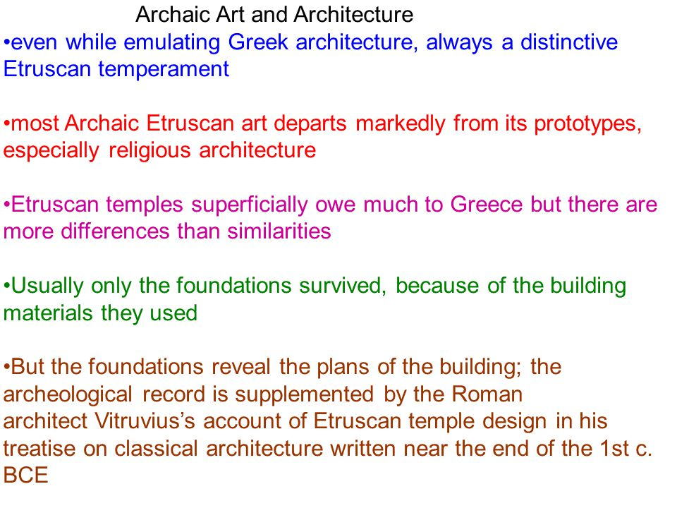 Archaic Art and Architecture