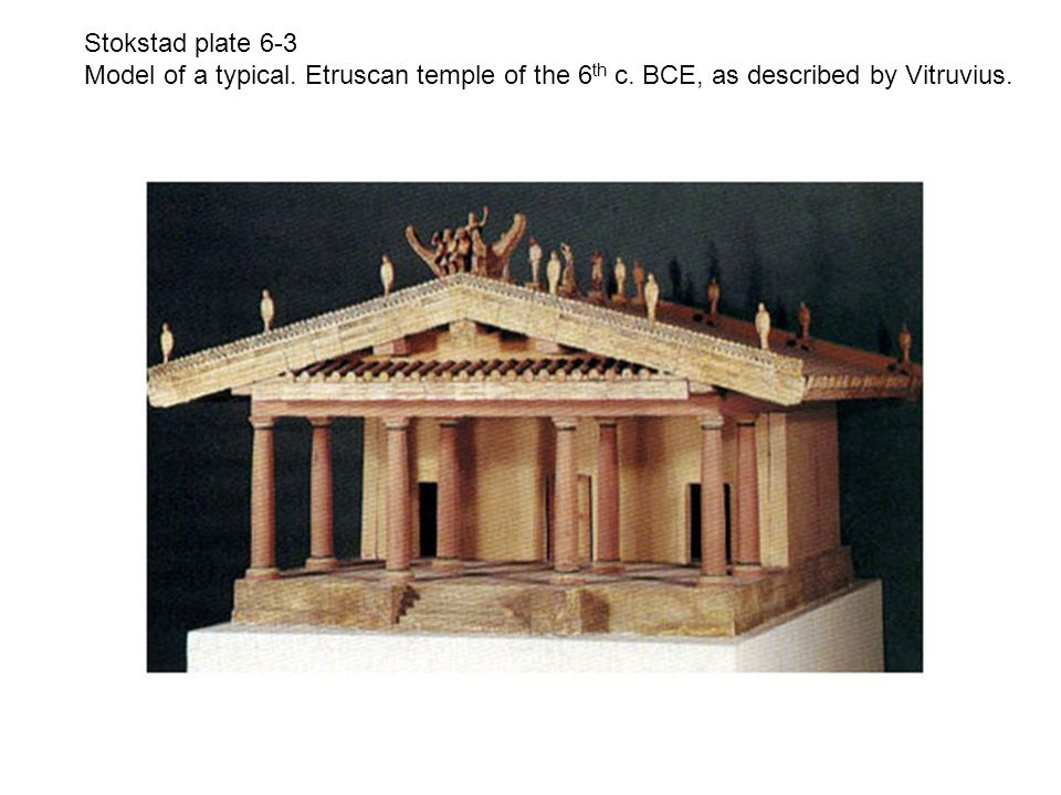 Stokstad plate 6-3 Model of a typical. Etruscan temple of the 6th c.