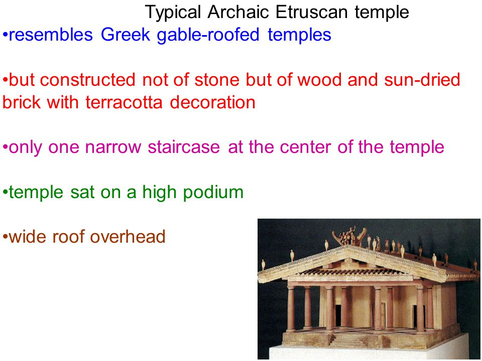 resembles Greek gable-roofed temples