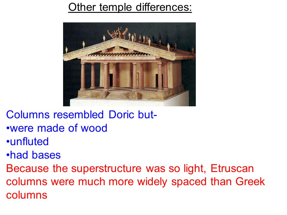 Other temple differences: