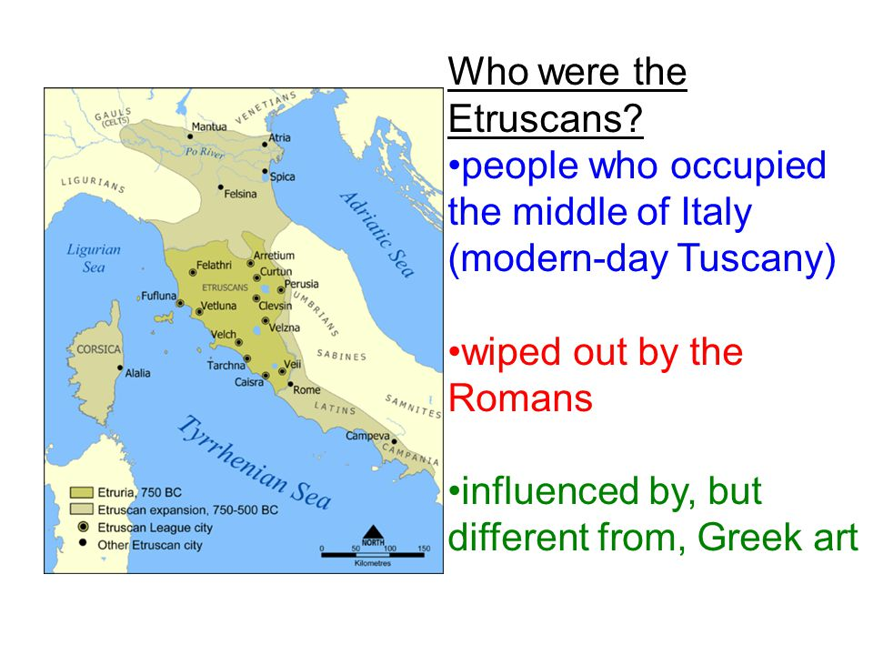 Who were the Etruscans people who occupied the middle of Italy (modern-day Tuscany) wiped out by the Romans.