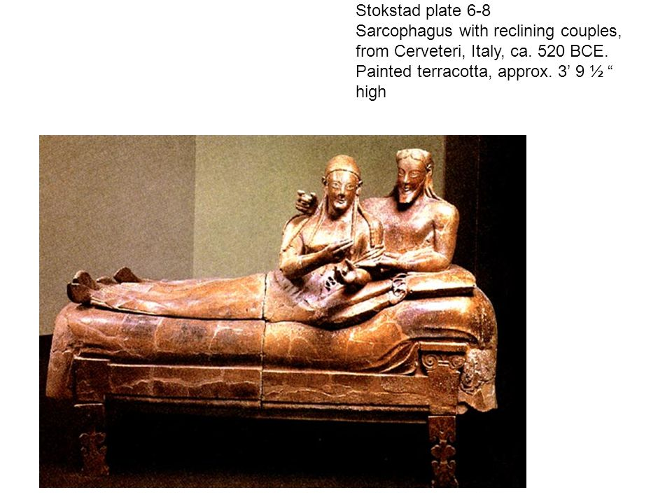 Stokstad plate 6-8 Sarcophagus with reclining couples, from Cerveteri, Italy, ca.